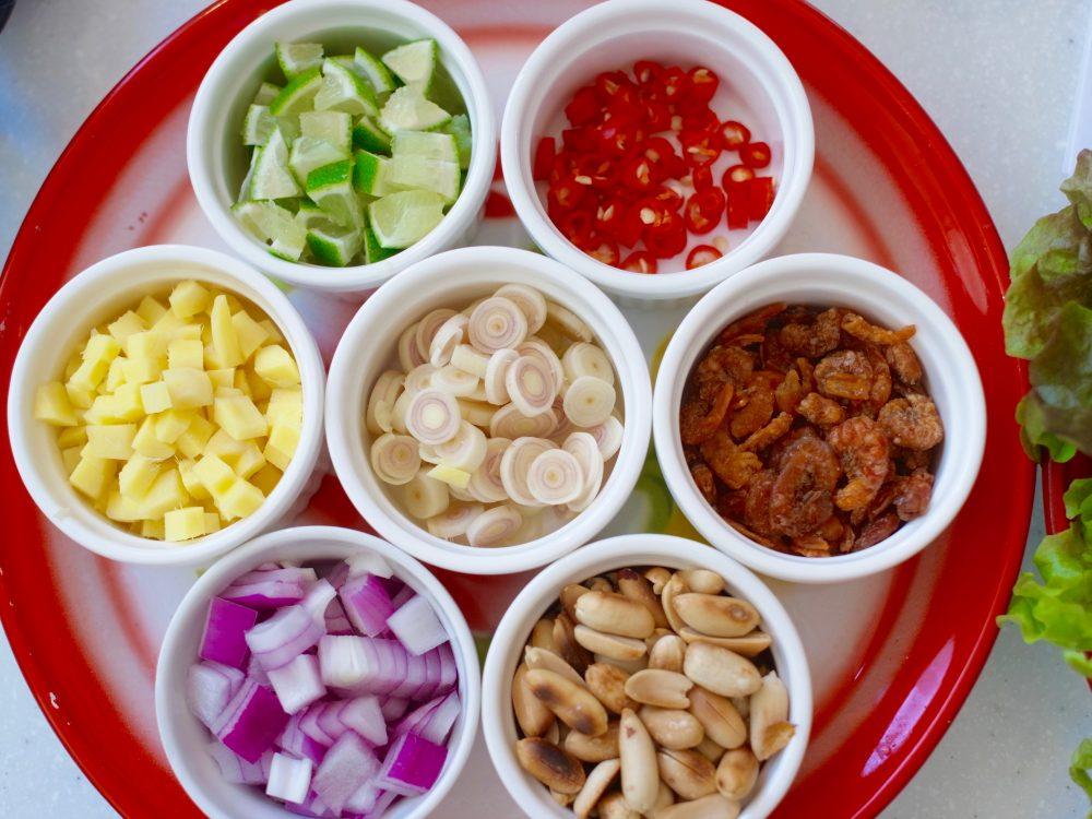 ミアン-タイ料理-サラダ-一口サラダ-ハーブ-タイ料理教室
